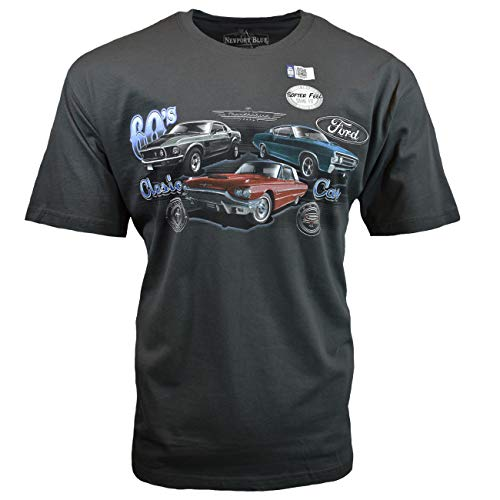 Newport Blue Men's T-Shirt, 60s Classic Cars, Ford Mustang, American Made Cars, Charcoal (X-Large)