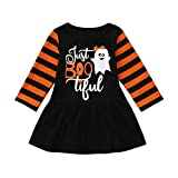 Girls Dresses, SHOBDW Infant Toddler Baby Halloween Party Cosplay Ghost Cartoon Party Long Sleeve Clothes Skirts Gifts (36-48 Months, Black)