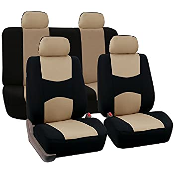 FH Group Universal Fit Full Set Flat Cloth Fabric Car Seat Cover Beige Black FB050114 Most Truck Suv Or Van