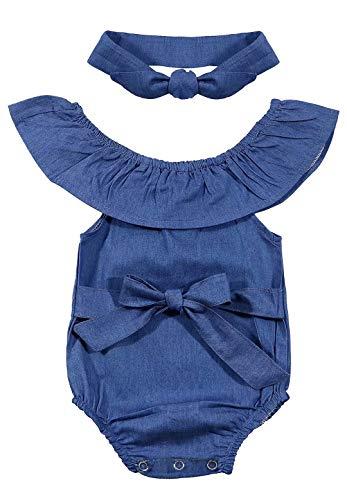 Newborn Baby Girls Front Bowknot Denim Bodysuit Ruffle Turn Down Collar Sleeveless Romper Size 0-3Months/Tag 66 (Blue)