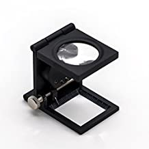 JLER Microscope Zinc Alloy Folding Jewelry Magnifier Loupe with Scale for Textile Optical Foldable Magnifying Glass 15X Fabric Cloth Magnifier (Single lens black)