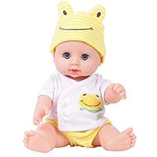 YASSUN Anti-real Baby Doll, Full Gelatin Doll, Housekeeping Early Education Parent-child Children's Toy Gift,Yellow