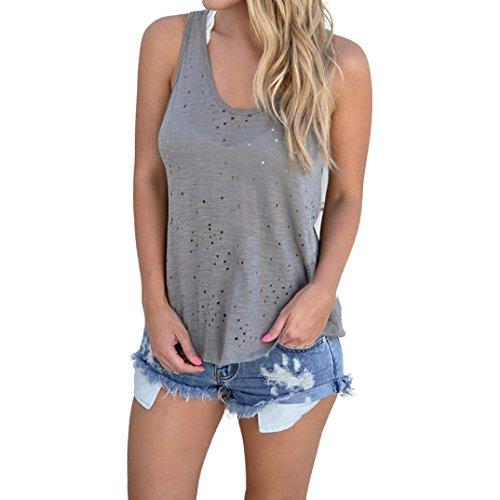 Fulltime® femmes trou récolte sans manches hauts gilet dos nu réservoir tops t-shirt