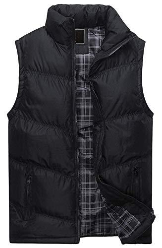- ssjjsacv Men's Winter Full Zip Chevron-Quilted Sleeveless Insulated Puffer Vest Jacket Gilet,Small,Black