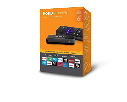 Roku Premiere HD/4K/HDR Streaming Media Player Includes Simple Remote and Premium HDMI Cable