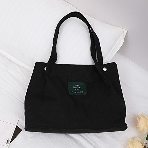 Black Crossbody Handbag Female ミ❤ミGirls Simple Shoulder Retro Women Canvas BURFLY Letter Bag gFUPxUq