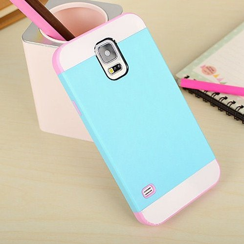 c39aed6cbaf040 Semoss 2 in 1 Premium Hybrid Bumper Coque Etui Housse en TPU Silicone Cover  Rigide pour Samsung Galaxy S5 Hard Case (Bleu   Rosa)  Amazon.fr  High-tech