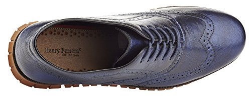 Henry Ferrera Mens Casual Wingtip Brogue Oxford Shoes Blue SKHGbV7T