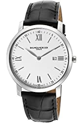 Baume & Mercier Men's Classima White Dial Black Genuine Leather