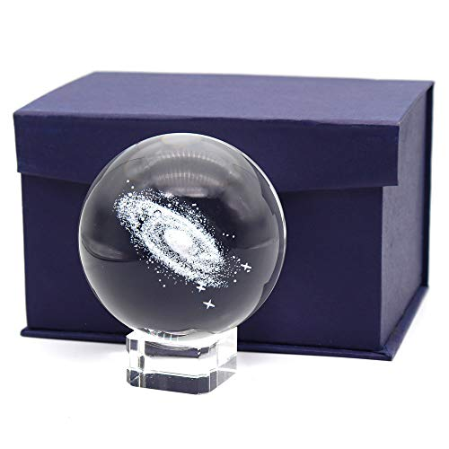 Ekatoo 3 Inch/80MM Galaxy Ball Crystal Display Globe Full Sphere Glass Paperweight Fengshui with Clear Stand (Gift Box Package)