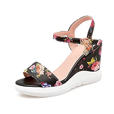 Dahanyi Stylish Plus Size 2018 Summer Wedges Sandals PU Printing Leather Open Toe High Heels Summer Shoes Fashion Platform Shoes