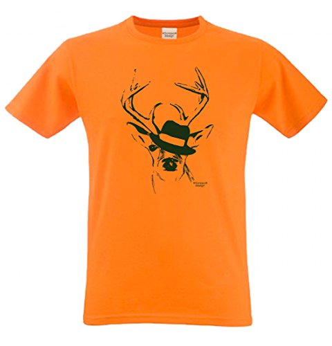Wiesn T-Shirt statt Tracht & Dirndl - Hirsch mit Hut - Lustiges Spruchshirt als Geschenk zum Oktoberfest & Volksfest sw7