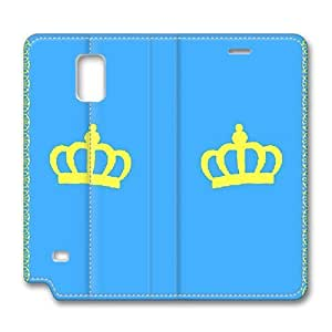 Note4 Case, Samsung Note 4 Case, Personalized Cartoon Blue Crown Pattern Premium PU Leather Flip Protective Skin Case with for Samsung Galaxy Note 4