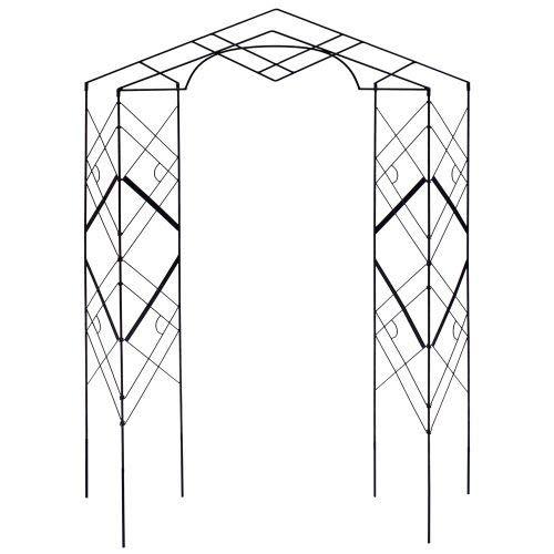 Achla Designs FT-46 Athena Plant Support, Wrought Iron Decorative Garden Arch Trellis, Black]()