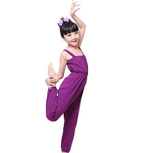ZYZF Girls Gymnastics Warm Up Full Length Comfort Dance Tank Strap Overall Pants Ballet Dancewear Playsuit Jumpsuit Trousers