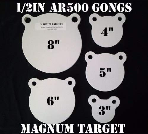 - AR500 Steel Targets - Gongs - Silhouettes and More for Pistols and Rifles - 3/8 1/2 (1/2