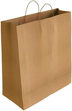 [CA5050] 50 x Bolsa de Papel Kraft Verjurado con Asas Rizadas (37 x 27 x 12 cm)