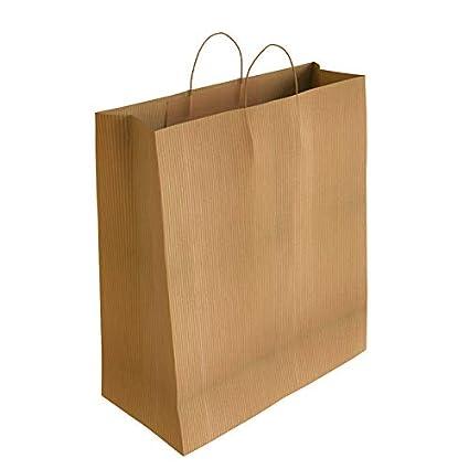 Bolsas de Papel con Asas Rizadas (32 x 24 x 10 cm (50 Bolsas), Crudo Verjurado)