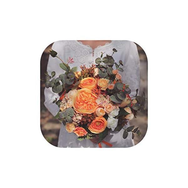 Vintage Wedding Bouquets Orange Bridal Flowers Boho Artificial Silk Roses Summer Brides Fake Bouquet,Orange