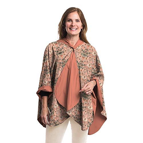 RainCaper Rain Poncho for Women - Reversible Rainproof Hooded Cape in Gorgeous Ultrasoft Colors (Choose Your Color) (Blush/William Morris Tulips) ()