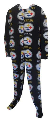 Pittsburgh Steelers Guys One Piece Footie Black Pajama for men