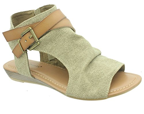 Pierre Dumas Women's Brenna-1 Two Tone Canvas Fisherman Sandal with Decorative Ankle Strap,Sand Combo, (Canvas Fisherman Sandals)