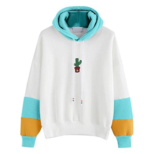 Wintialy Womens Long Sleeve Hoodie Cactus Print Sweatshirt Hooded Pullover Tops Blouse (Sky Blue, L) from Wintialy