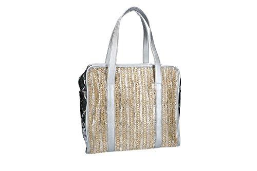 Borsa donna a spalla ANTONIO BASILE shopper argento con apertura zip VN1767