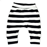 Ding-dong Baby Boys Girls Striped Pants(Black, 6-9M)