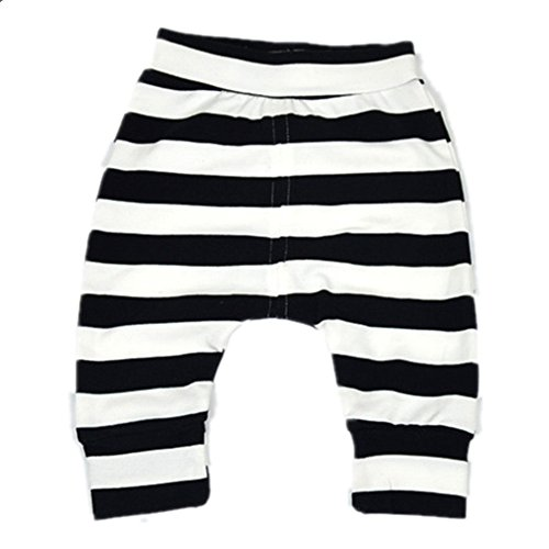 Ding-dong Baby Boys Girls Striped Pants(Black,3-6M)