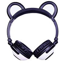 LIMSON Bluetooth Over-Ear Stereo Headphone with Bear Ear, Rechargeable Foldable Headset Whole Body Flashing Glowing Foldable Earphones for Kids Girls Boys BTR109