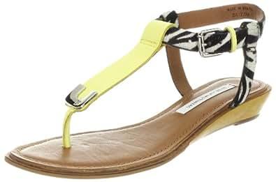 Diane von Furstenberg Women's Dion T-Strap Sandal,Banana/Zebra,9 M US