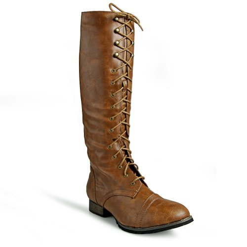 Breckelle's Outlaw Women's Lace Up Knee High Riding Boots