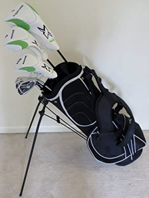 Mens Complete Golf Club Set Driver, Fairway Wood, Hybrid, Irons, Putter & Stand Bag