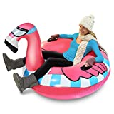 GoFloats Winter Snow Tube - Inflatable Toboggan Sled for Kids and Adults (Choose from Unicorn, Ice Dragon, Polar Bear, Penguin, Flamingo)