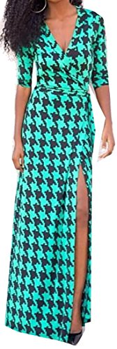 Dress Maxi Slit Cruiize High Long V Deep Green Womens Lake Neck Sexy Casual q6Tw4avxC