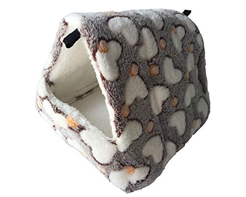 WOWOWMEOW Small Animals Warm Fleece Bed Cage Hanging Cave Beds for Guinea-Pigs, Hamster, Squirrel, Chinchilla and Small Bird (L, Coffee)