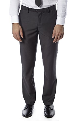 Alberto Cardinali Men's Tailored Dress Pants – Modern Slim Fit Flat Front Design, Charcoal Grey - Slim Fit Charcoal Dress Pants