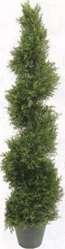 (One 4 Foot 3 Inch Artificial Cypress Spiral Topiary Tree Potted Indoor or Outdoor)