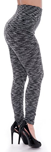 Unique Styles Women's Fashion Melange Pattern Dual Stretch Seamless Fleece Lined Leggings (Small/Medium, Black)