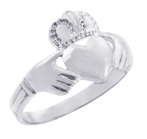 Solid 925 Sterling Silver Traditional Claddagh Ring (15)