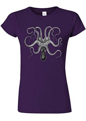 カフェ導入する数値Octopus Drawing Vintage Funny Novelty Purple Women T Shirt Top-XL