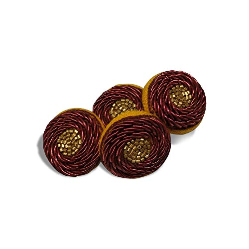 Jacknjewel button for ladies kurti's & ethnic dress using dabka, kardana & aari work (Mahroon color, pack of 4 pieces)