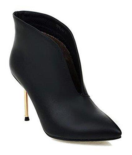 Chfso Kvinners Elegant Stiletto Solid Vanntett Spiss Tå Trekke På Ankelen Høy Hæl Bryllup Pumper Boots Black