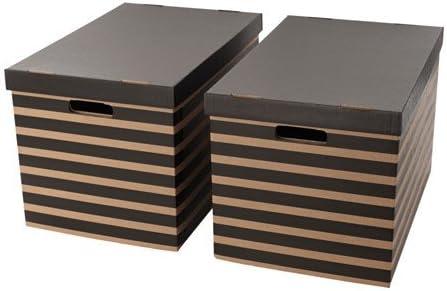 Ikea pingla Cajas Con Tapa; en negro y beige; (56 x 37 x 36 cm); 2 unidades): Amazon.es: Hogar