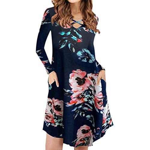 GDJGTA Dress for Womens Long Sleeve O Neck Summer Cross Bandages with Pocket Print Dress Navy ()