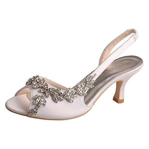 Wedopus MW13105 Women's Peep Toe Slingback Mid Heel Sandals Rhinestones Satin Evening Prom Wedding Shoes White Size 5