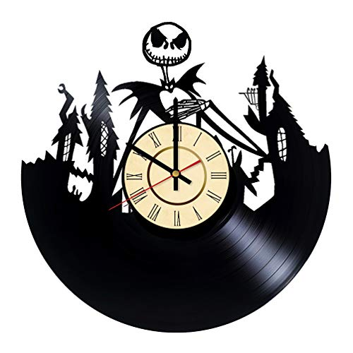 (Pumpkin King Vinyl Clock Gift for Nightmare Before Christmas Fans Jack Skellington Wall Decor Disney Art Halloween Town Living Room)