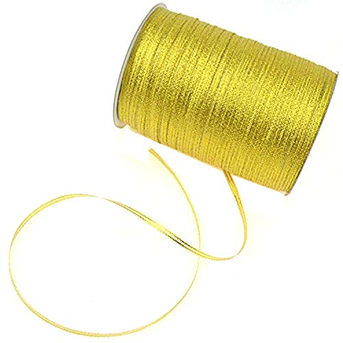 1/8-Inch Satin Ribbon by 870 Yard Spool | 3mm Double Face Woven Polyester Ribbon Hanging Tag&Card for Art Projects | No Fading Scrapbook Fabric Ribbon (1/8-Inch x 870 Yard x 1 Spool, Glitter Gold) ()
