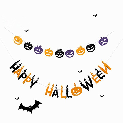 Happy Halloween Pumpkin Banner Bunting, Burlap Banner Chain Wall Décor, Indoor and Outdoor Party Supplies Accessories, for Home, School, Office Decorations (Classy Halloween)